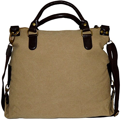 Schultertasche Shopper Canvas-Tasche Stern Stars Print Canvas PU-Leder Umhängetasche Handtasche Bag khaki