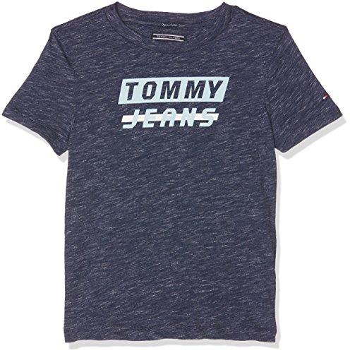 Tommy hilfiger ame bold logo tee s/s, t-shirt bambino, blu (navy blazer heather 489), 116