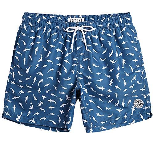 MaaMgic Homme Short de Bains Imprimé Séchage Rapide avec Slip en Filet Maillot de Bain Pants Court de Sport pour Vacance a la Plage, Bleu Requin Blanc, Large(tour de taille:86~92cm)