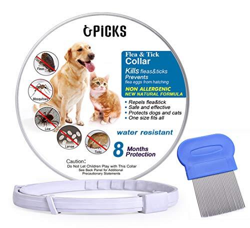 U-picks Collier Anti-puces et tiques pour Chien et Chat Résistant à l'eau Protection 8 Mois Anti puces et tiques