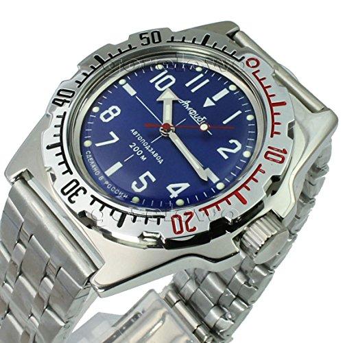 Vostok Amphibian 110648/2415b Tauchuhr, russische Uhr, mechanisch, automatisch, in Blau