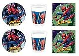 Cdc -kit n°2 festa e party Spiderman - (16 piatti, 16 bicchieri, 40 tovaglioli)