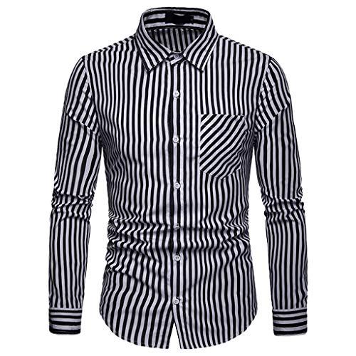 (UJUNAOR Männer Frühling Langarmhemd Business Gestreift Casual Revers Bluse Shirt(Schwarz,CN L))