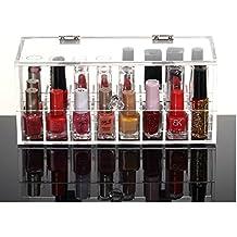 HQdeal polvo de acrílico (24Lipstick Soporte de laca de uñas de soporte de pantalla Organizador de cosméticos de maquillaje caja