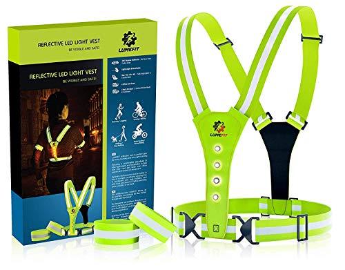 LUMEFIT Warnweste, Reflektorweste, Sicherheitsweste | Reflektierende gelbe Laufwesten mit Armbändern | High-Vis für die Sicherheit von Kindern, Frauen, Männern | Verstellbare Ausrüstung 8 helle LEDs