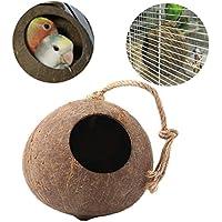 Kicode Natürlich Kokosnussschale Vogelnest Haus Hütte Cage Feeder Spielzeug für Pet Parrot Budgie Sittich Cockatiel Sittich