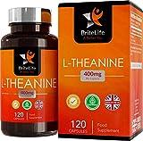 L-Teanina 400mg - ALTA RESISTENCIA | 120 cápsulas vegetarianas | Mantiene la relajación mientras aumenta el rendimiento cognitivo - Fabricado en instalaciones con licencia ISO en el Reino Unido