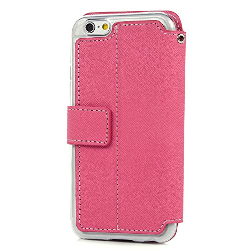 MAXFE.CO Lederhülle Leder Tasche Case Cover für iPhone 6 6S 4.7 Zoll Hülle PU Schutz Etui Schale Rosé-gold Muster Prägung Rose Design Backcover Flip Cover Wallet Hardcase im Bookstyle mit Standfunktio Rose rot
