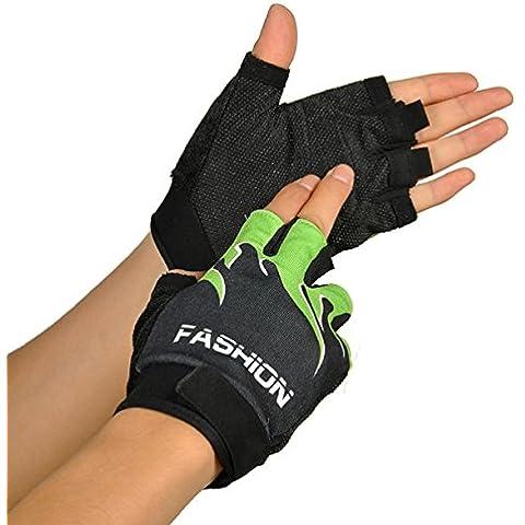 Culater Deportes en bicicleta Bicicleta Bicicleta Senderismo gel de los medios guantes sin dedos (Verde, Tamaño