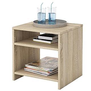 IDIMEX Table d'appoint Livorno, Table de Nuit Chevet casier avec 2 niches Ouvertes, en mélaminé décor chêne Sonoma