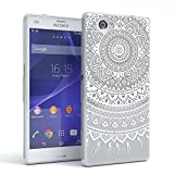 Sony Xperia Z3 Compact Schutzhülle Silikon Mandala Design I von EAZY CASE I Slimcover Henna, Handyhülle, TPU Hülle / Soft Case, Silikonhülle, Backcover, indische Sonne, transparent, Weiß