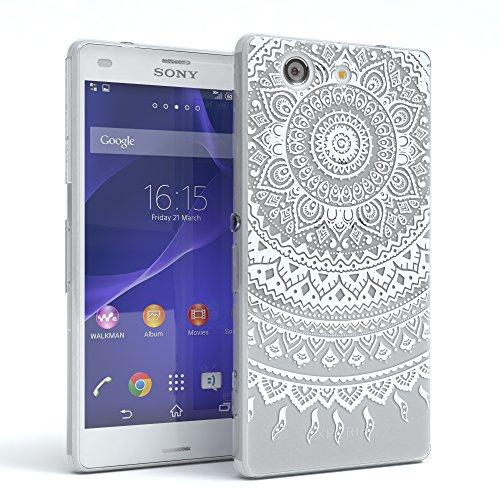 Sony Xperia Z3 Compact Schutzhülle Silikon Mandala Design I von EAZY CASE I Slimcover Henna, Handyhülle, TPU Hülle / Soft Case, Silikonhülle, Backcover, indische Sonne, transparent, Weiß