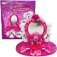 Girls Princess Table Desk Top Dressing Mirror Play Set Glamour Beauty Make Up Light Musical Toy Xmas Gift