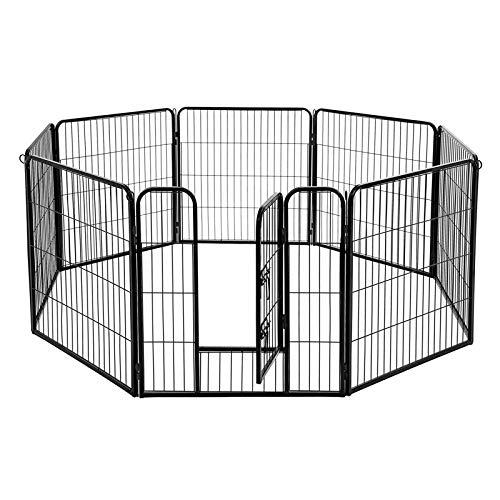 FEANDREA Welpenauslauf Welpenlaufstall Tierlaufstall Freilaufgehege Hundelaufstall Welpenzaun Absperrgitter Zaun Gitter Welpen Hasen Kaninchen 8-Eck schwarz 77 x 60 cm PPK86H