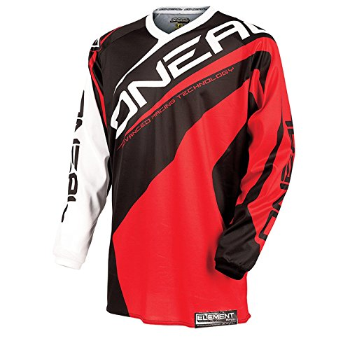 O'Neal Element MX Jersey RACEWEAR Trikot Rot Moto Cross Mountain Bike Enduro MTB DH FR, 0024R-3, Größe Medium