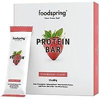 foodspring Protein Bar en pack de 12, Fresa Yogur, Nueva receta, más placer, Fabricada en Alemania