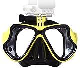Lyhoon Máscara de buceo de cristal revestida para Submarinismo y Snorkel Compatible con Xiaomi Yi Cámara GoPro Hero 1, 2, 3, 3+, 4 SJ4000 SJ5000 SJ6000 (Amarillo)
