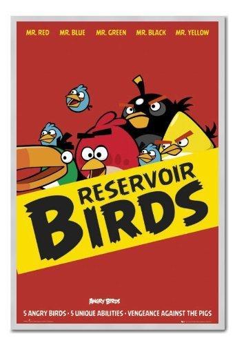 Angry Birds serbatoio uccelli Poster Sughero Pin Lavagnetta Argento Con Cornice-96.5x 66cms (circa 96,5x 66cm)