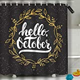 Randell Bathroom Shower Curtain Hello October Waterproof Fabric Shower Curtain 60(W) X 72(L) Inches For Men Women Kids