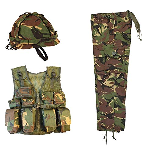 Military and Outdoor Kinder Camo Outfit, Helm, Assault Weste, Hose Geschenk-Set Kinder Armee Camo (Set39) -