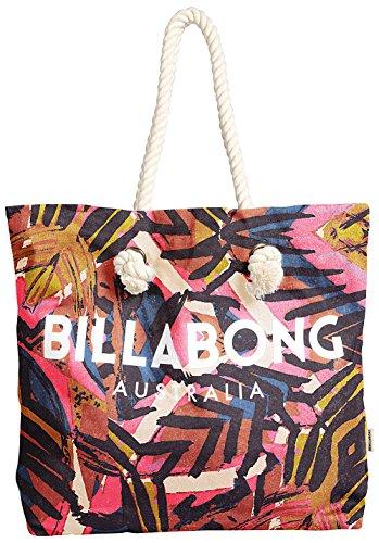 BILLABONG Essentials Tote Bag Paradise Pink - Große Bedruckte Leinentasche aus Leinen mit Seilgriffen Logo Paradiso Leinen