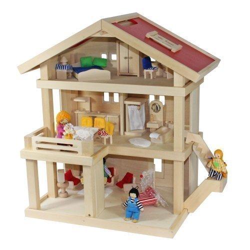 Villa Freda Puppenhaus + Puppenfamilie + Hussen + Puppenhausmöbel 26teilig  + Babywiege Aus Holz 3 Etagen