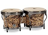 "LP Latin Percussion Aspire Accent Bongo 6,75"" und 8"", Siamesische Eiche/Naturfell, Finish: Havana Café/Brushed Nickel, LPA601-HC"