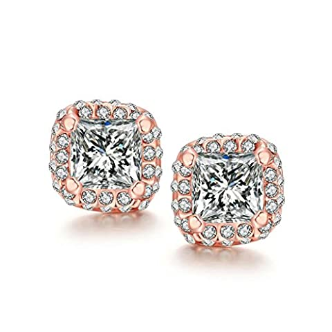 Adisaer Stud Earrings for Women Gold Plated Cubic Zirconia Square Earrings Stud for Bridal Rose