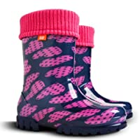 Girls Kids Fleece-Lined Wellington Boots Rainy Snow Wellies Pink Purple Hearts