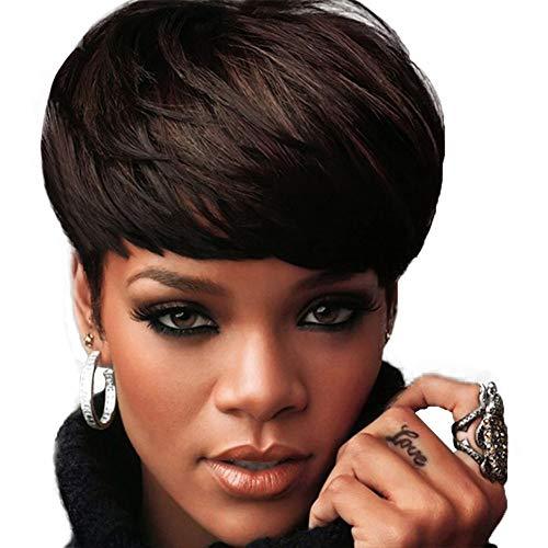 Perücke, damen schwarze perücke mode realistisch kurze locken kappe schwarz braun