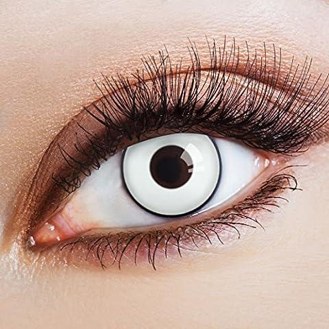 aricona Farblinsen | farbige Kontaktlinsen ohne Stärke für dein Halloween Kostüm | deckend weiße 12 Monatslinsen | Zombie Augen | bunte Cosplay (Vampire Zombie-kostüme)