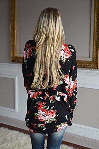 Manches Longues Drapée Drapé Florale à Fleurs Ourlet Irrégulier Bohème de Plage Cover Up Devant Cardigan Gilet Blouse Chemisier Shirt Chemise Haut Top Noir
