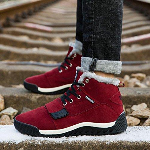 Men Casual Sport Shoes Boots, SOMESUN Uomini bassi della caviglia piatto Caviglia Stivali inverno autunno caldo Casual Scarpe Red