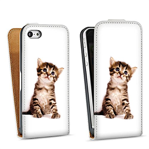 Apple iPhone 5s Housse étui coque protection Chat Bébé chat Kitten Sac Downflip blanc