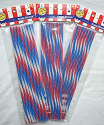 Patriotic Reusable Hard Plastic Acrylic Straws Red White Blue Straws 18 Count