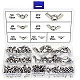 Hseamall 100pcs Wing titanio acciaio INOX m3M4M5M6M8M10farfalla ala dadi assortimento kit strumenti per fai da te