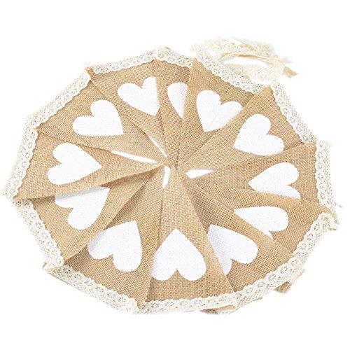 G2PLUS Leinen Wimpel Girlande, 10 Feet Wimpelkette mit 12 Wimpeln ideal für rustikale Themen-Hochzeiten oder Abendessen Parteien