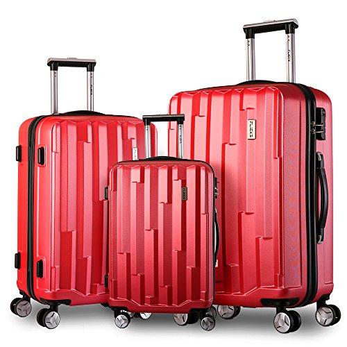 Trolley Koffer Hartschalen-Koffer Kofferset Leichter Rollkoffer kratzfester Reisekoffer aus ABS und Stahl Handgepäck mit 4 Doppel-Rollen (XL-L-M Set) (Rot)
