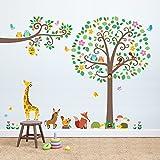 Decowall DML-1502P1512 Großer Blätterbaum & Zweige mit Tieren Wandsticker Wandaufkleber Wandtattoo Kinderzimmer