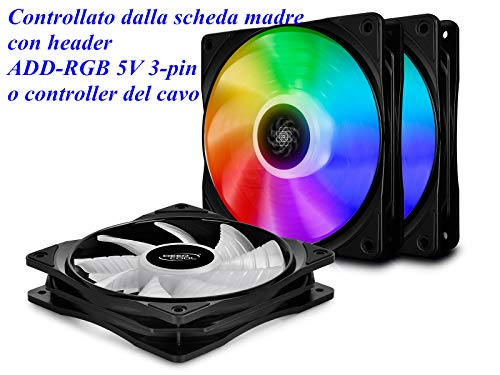 DEEPCOOL CF120 RGB LED-PWM-Lüfter,Gehäuselüfter 120 mm, RGB Sync, 5V 3pin ADD RGB (3P Set)