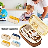Leobtain Pencil Case Large Capacity Pencil Pouch Double Zippers Pencil Bag Office School Students Pen Holder Organizer Stationery Bag with Compartments for Gilrs Boys Adults