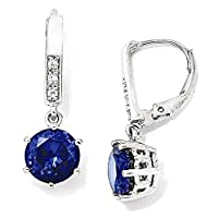 IceCarats 925 Sterling Silver Cubic Zirconia Cz Synthetic Dark Blue Spinel Leverback Dangle Ear
