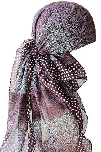 Deresina Headwear Frauenalltags Weiche Quadratisch Kopftücher (1mx1m) (Maulbeere Sahnespitze Gemustert)