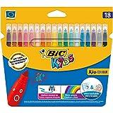 BIC Kids Kid Couleur rotuladores punta media - colores Surtidos, Estuche de 18 unidades