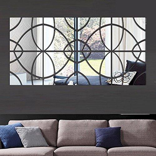 ... GOUZI Die Spiegelwand Kunst 3d Kunst Diy Dekorative Spiegel, Silber  Abnehmbarer Wall Sticker Für Schlafzimmer, Bad Spiegelleuchten ...