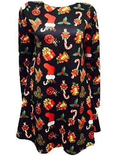 Womens Ladies Long Sleeves Olaf Santa Gifts Snowman Christmas Print Swing Dress Plus Size (UK 16/18) Gift & Bell Black