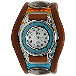 Kc,s Leather Craft Watch Bracelet Turquoise Movemnet 3 Concho Inlay Multi Sarape Color Light Brown