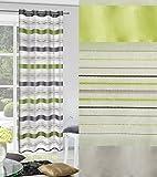Vorhang Ösenvorhang 140x250 cm Gestreift Nadia grün stahl Wohnzimmer Küche Streifen Lichtundurchlässigkeit: ungf. 30%