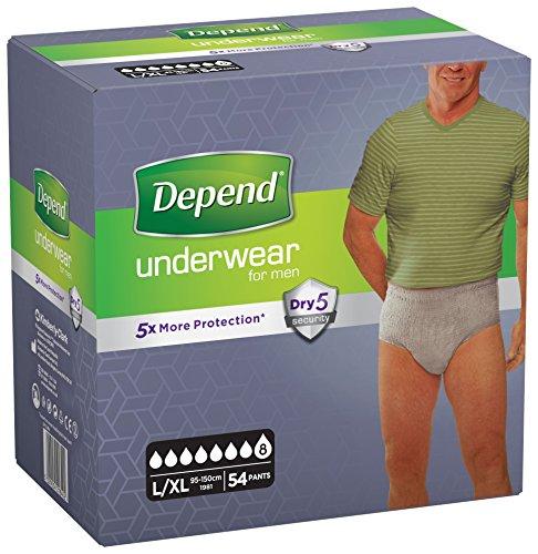 Depend Unterwäsche saugfähig Absorption Super Gr. L/XL Herren-54Stück - Inkontinenz-unterwäsche Für Männer