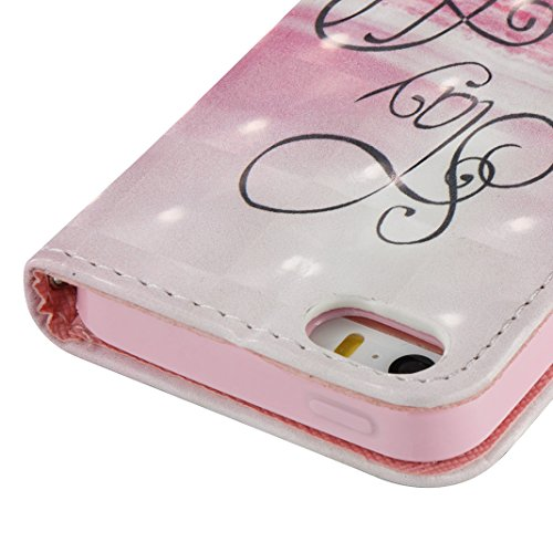 iPhone SE Hülle, iPhone 5S Case, Rosa Schleife iPhone Handyhülle PU Ledertasche Flip Wallet Cover Bookstyle Case Standfunktion Magnetverschluss Schutzhülle TPU Silikon Bumper Schale für iPhone 5 mit E B-Rosa Wolken